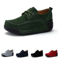 New Women's Platform Wedge Heels Flats Casual Shoes Round Toe Creepers Outdoor B