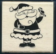SANTA CLAUS Candy Cane Christmas 2014 NEW Craft Smart Wood Mount RUBBER STAMP