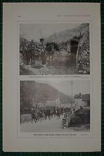 1916 WW1 PRINT ITALIAN CAVALRY PATROL PASSING THROUGH VILLAGE ON WAY TO FRONT