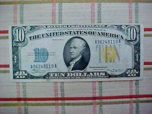 1934 A $10 Dollar Yellow Seal North Africa Silver Certificate  NO RESERVE