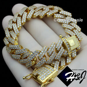 "8.5""MEN 14K GOLD FINISH 14MM ICY DIAMOND GOLD MIAMI CUBAN CHAIN BRACELET*BGB6"