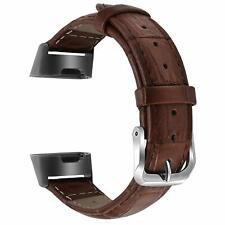 "Leather Band for Fitbit Charge 3 and Charge 3 SE Size Large 7.7""-9.3"" Brown LG"