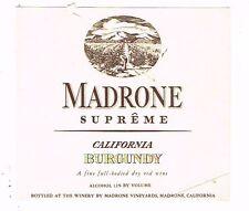 1930s California MADRONE SUPERME BURGUNDY WINE label