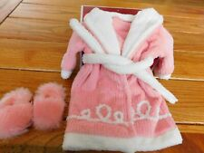AMERICAN GIRL EMILY CHENILLE ROBE AND SLIPPERS NIB RETIRED DAMAGED BOX FREE SHIP