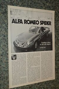 ★★1978 ALFA ROMEO SPIDER NIKI LAUDA F1 ORIGINAL FIRST LOOK ROAD TEST ARTICLE 78
