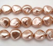 12  11 x 9 mm Czech Glass Nugget Beads: Pearl Coated - Vintage Rose