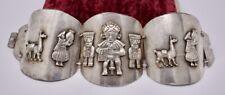 "Vintage 2"" WIDE Handmade Peruvian Peru Sterling Silver Panel Bracelet 7"" 74g"