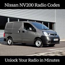 Nissan NV200 Radio Code Stereo Unlock Codes PIN Car Decoding  | Fast Service UK