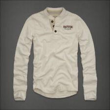 Unifarbene Henley Langarm Herren-T-Shirts