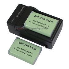 AC Charger +2x Battery NB-12L for Canon LEGRIA Mini X PowerShot G1X N100 1910mAh