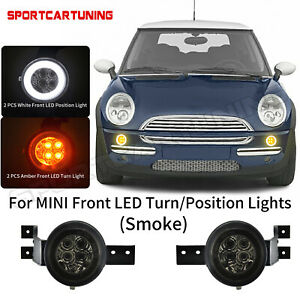 Smoked Full LED Halo Corner Signal Lights Assembly For MINI Cooper R50 R52 R53