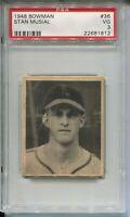 1948 Bowman Baseball #36 Stan Musial Rookie Card RC Graded PSA 3 Cardinals