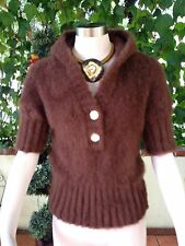INDAH SOFT FLUFFY LONGHAIR MOHAIR HOODED CROP BROWN COLOR SWEATER  SIZE  S-M