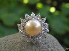 10mm Peach Pink Pearl Solitaire (Size 7 1/2, O 1/2), CZ's & 925 SOLID Silver