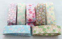 7 Meters of Mixed colour flower design 25mm satin ribbon #22774
