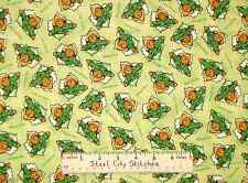 Quilting Treasures Paddington Bear Wearing Raincoat Hat Green Cotton Fabric BTY