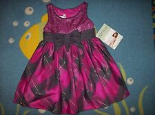 Bonnie Jean Dress Girls Sz 4 Pnk Plaid Metallic Foil Sequin Chiffon Mesh Bow NWT