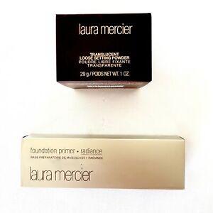 2pc Lot Laura Mercier Translucent Loose Setting Powder, Foundation Primer Bundle