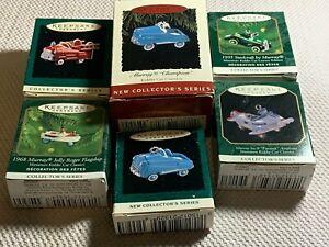 Lot of 6 Keepsake Kiddie Car Ornaments From 1994 / 2000 (ESTATE SALE ITEM)