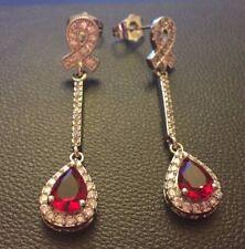 K11 ORO BIANCO riempimento, tormalina rossa + Diamante Dangle Orecchini Pendenti CROCIERA IN SCATOLA