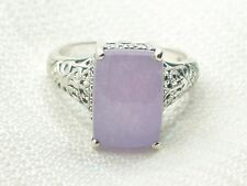 Estate Sterling Silver CNA Signed Purple Chalcedony Filigree Ring size 8