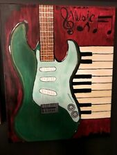 Guitar keyboards painting acrylic on 18 x 20 stretched canvas