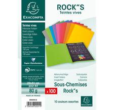 Paquet 100 Sous-Chemise ROCK'S Papier 80g Teintes Vives 10 Couleurs