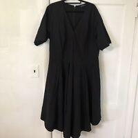 Eshakti Custom Plus Size 3X Black Short Sleeve V-Neck dress A339