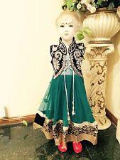 "32"" Age 8 10 Salwar Kameez Bollywood Indian Girls Fancy Dress Green Anarkali"