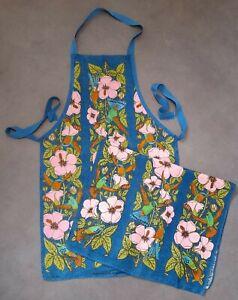 Vintage Irish Linen WWF Apron Teatowel Set Tropical Bird Flower Design 60's Teal