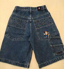 Flamehead USA Vintage Blue Denim Embroidered Boys Shorts Sz 16