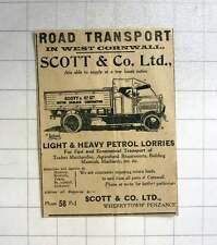 1921 Road Transport West Cornwall Scott And Co Ltd Wherrytown Penzance