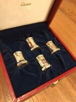 Vintage Authentic Cartier A Set of 4 Salt & Pepper Shakers Sterling Silver w Box