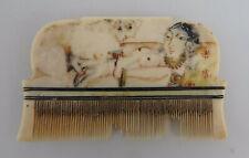 Alter asiatischer Flohkamm mit Miniatur handgemalt (75741)