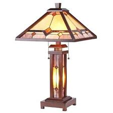 "Stained Glass Chloe Lighting Mission 3 Light Double Lit Table Lamp 15"" Shade New"