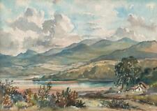 GLADYS DAWSON Watercolour Painting CONWAY RIVER & MOUNTAINS FROM BRYN PABO WALES