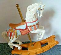 "Porcelain/Ceramic Rocking Horse Carousel Homco L6.5"" x W2"" x H7.5"" Pre-Owned"