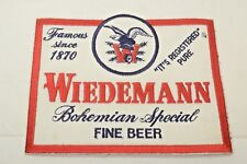 WIEDEMANN BOHEMIAN SPECIAL FINE BEER - CLOTH PATCH - NEW - UNUSED
