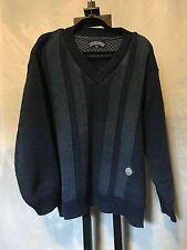 Blue Willis Blue V Neck Cotton Elbow Patch Sweater Size Medium