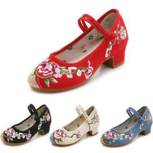 Chinese Embroidery Women retro Comfort Low Heels Ankle Frog Knot Hibiscus Shoes
