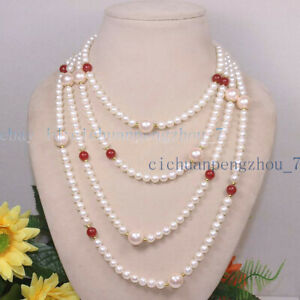 Natural 6-7mm White Pearl 12mm Pink Shell Pearl 8mm Red Ruby Necklace 36-100''