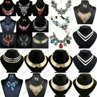 Fashion Women Crystal Chunky Pendant Statement Choker Bib Necklace Jewelry Chain