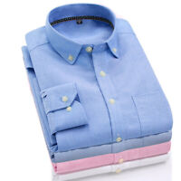 Mens Business Regular Fit Oxford Long Sleeve Shirt Solid Dress Casual Shirt Tops