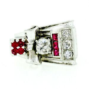 Retro Antique White Gold Platinum 0.79ctw European Mine Cut Diamond Buckle Ring
