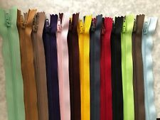 Dress Zippers.  12 x 55 cm long.  Mixed Colours.