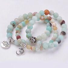 Set 3 Natural Frosted Amazonite Beaded Chakra Yoga Healing Stretch Bracelets