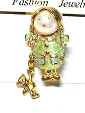 Figural Girl Carrying Doll Vintage Pin Necklace
