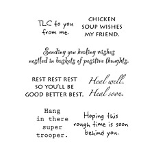 Words to the Rescue Stamps - Get Well Soon, Chicken Soup Wishes my Friend