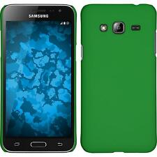 Hardcase Samsung Galaxy J3 rubberized green Cover + protective foils