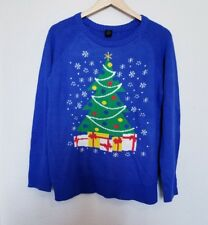 LOL Vintage Christmas Tree Ugly Christmas Sweater Size XL Blue Holiday Festive